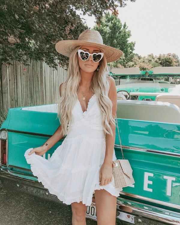 dress mini dress white dress ruffle dress woven bag hat