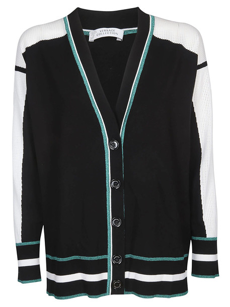 Versace Collection Logo Patch Cardigan in black / white