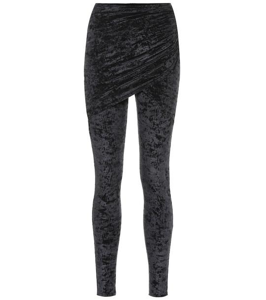 Balenciaga Stretch-velvet leggings in black