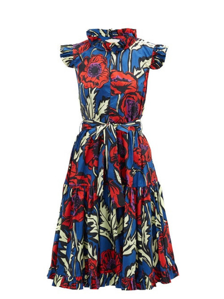 La DoubleJ - Short & Sassy Floral-print Silk-satin Dress - Womens - Blue Print