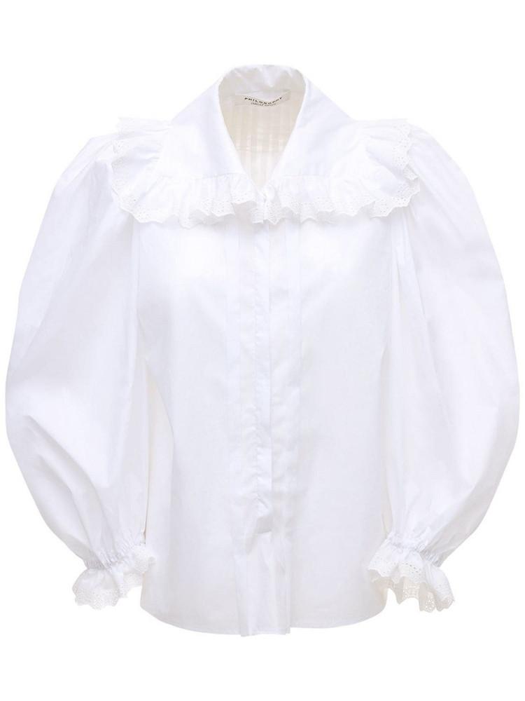 PHILOSOPHY DI LORENZO SERAFINI Maxi Collar Poplin Shirt W/puff Sleeves in white
