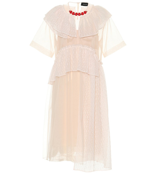 Simone Rocha Lace, tulle and satin dress in pink