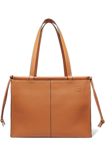 Loewe - Cushion Medium Textured-leather Tote - Camel
