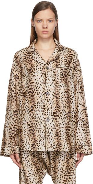 R13 Beige Flannel Cheetah PJ Top