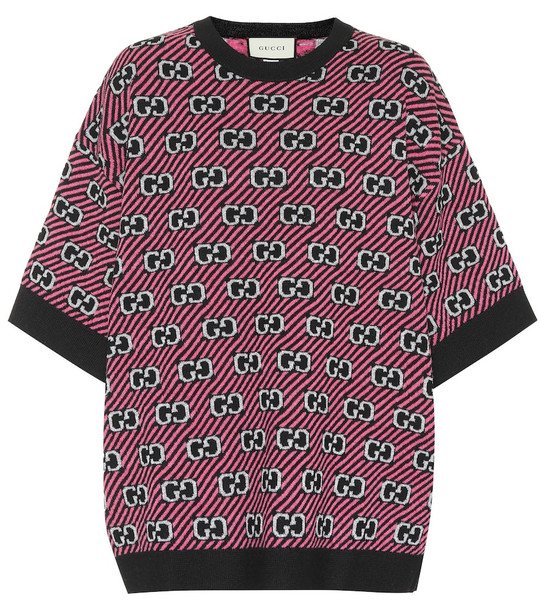 Gucci Wool-blend jacquard top in pink