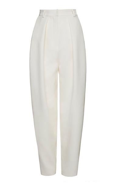 Magda Butrym Shaldon Tapered Wool Pants in white