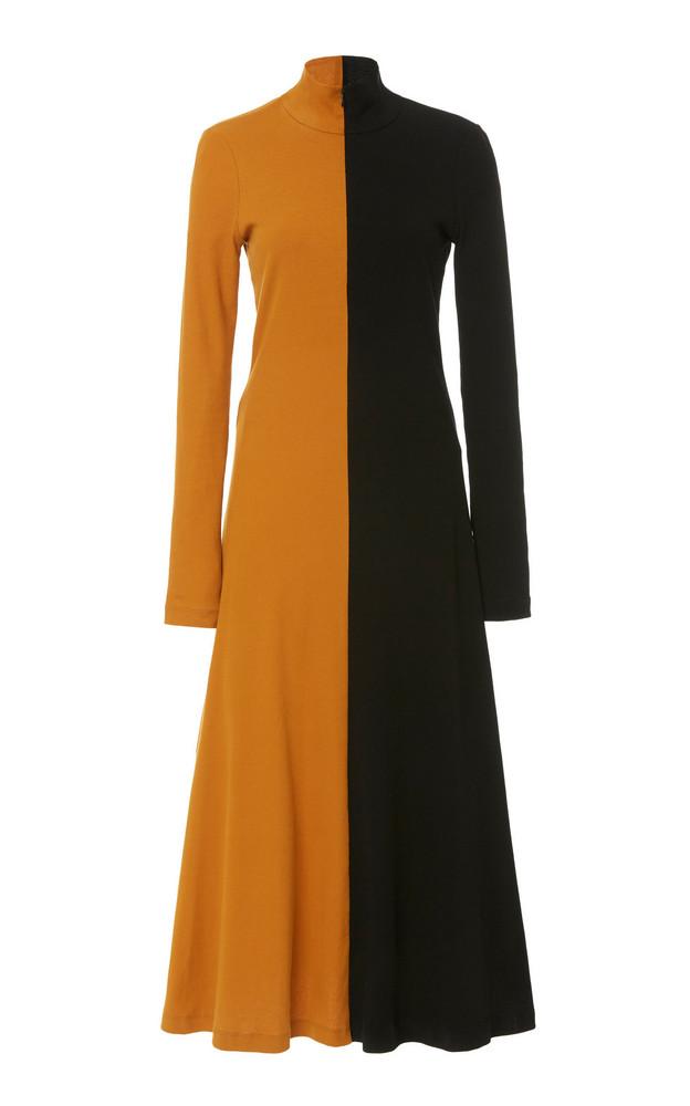 Rosetta Getty Two-Tone Cotton Turtleneck Midi Dress in brown