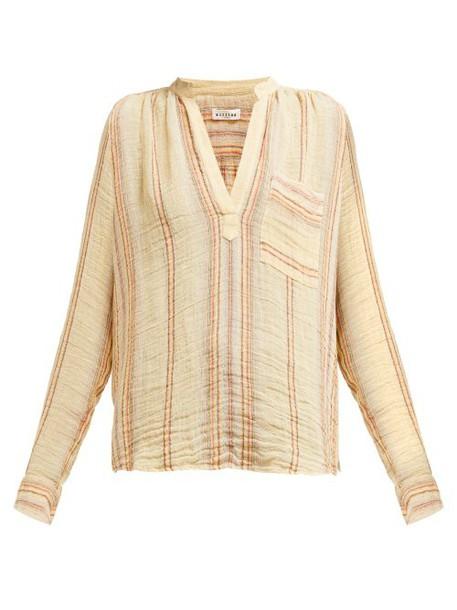 Masscob - Claude Striped Linen Blend Shirt - Womens - Beige