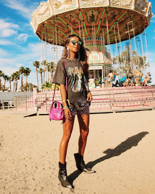 shoes cowboy boots isabel marant pink bag shorts leopard print black t-shirt coachella outfit