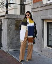 scarf,wool,pumps,pants,high waisted,white turtleneck top,black leather jacket