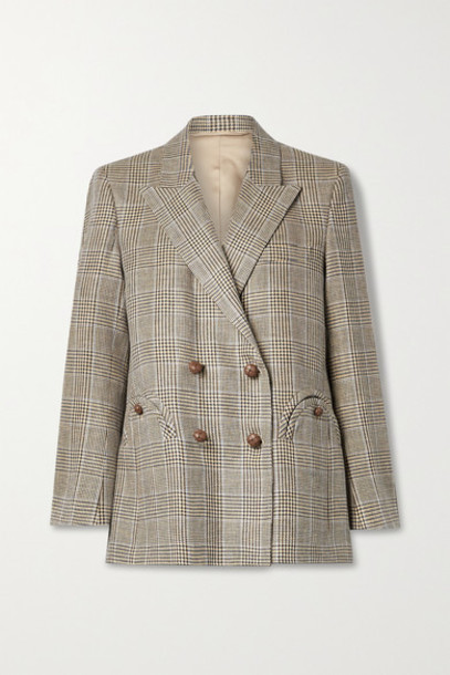 Blazé Milano - Merit Everynight Prince Of Wales Checked Linen And Wool-blend Blazer - Brown