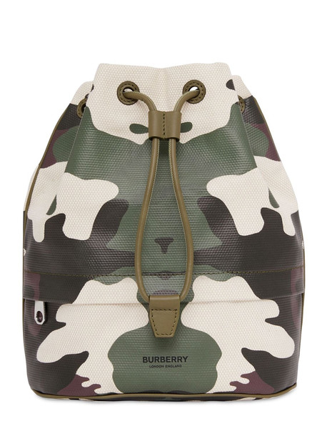 BURBERRY Phoebe Cotton & Leather Camouflage Pouch
