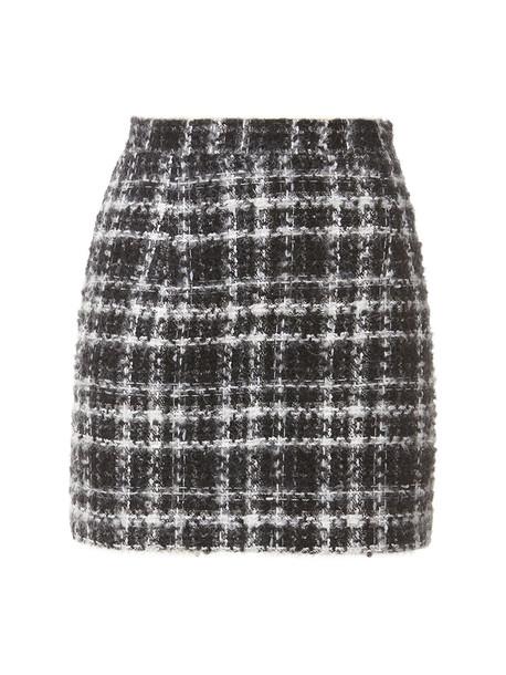 ALESSANDRA RICH Mohair Blend Check Tweed Mini Skirt in black / white
