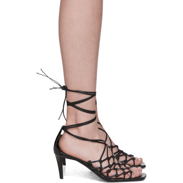 Stella McCartney Black Faux-Leather Wraparound Heeled Sandals