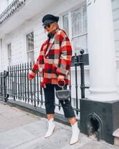 jeans,black jeans,cropped jeans,straight jeans,white boots,plaid,oversized coat,black sweater,turtleneck sweater,black bag,handbag,beret