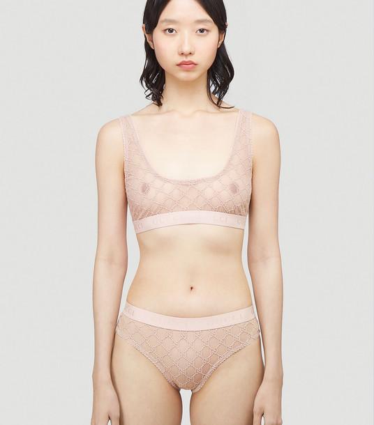 Gucci Underwear Women - GG Logo Sheer-Lace Lingerie Set Pink 83% Polyamide, 17% Elastane. Hand wash. L