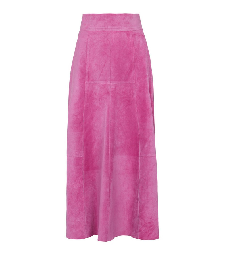 Isabel Marant Caxomia suede midi skirt in pink