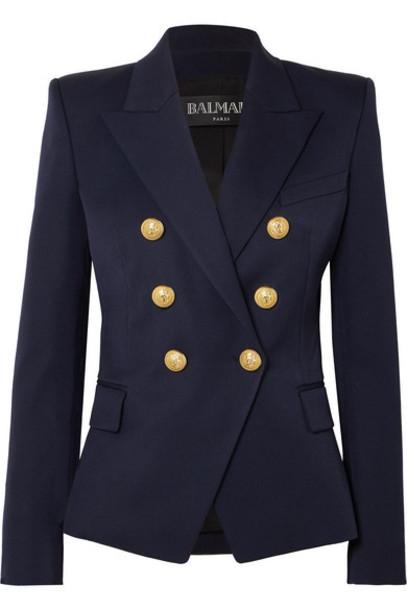 Balmain - Double-breasted Wool-twill Blazer - Navy