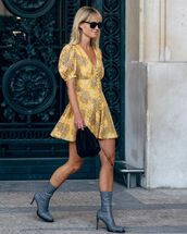 dress,mini dress,short sleeve dress,heel boots,bag