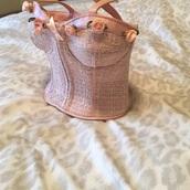 bag,tweed,twead,pink,floral,bodice,bustier,corset,lingerie,novelty,novelty bag,novelty purse,leather,faux leather,pink tweed,pink twead,shabby chic,pastel,flowers,handbag,frankie & johnnie,girly girl