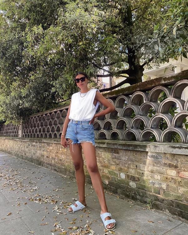 shoes white sandals denim shorts white t-shirt