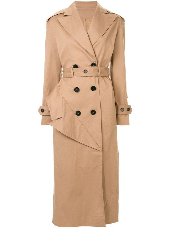 Ruban belted trench coat in brown