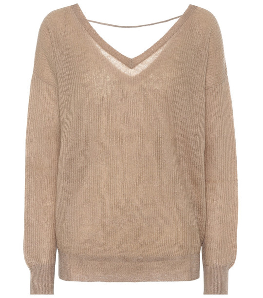 Brunello Cucinelli Ribbed mohair-blend sweater in beige