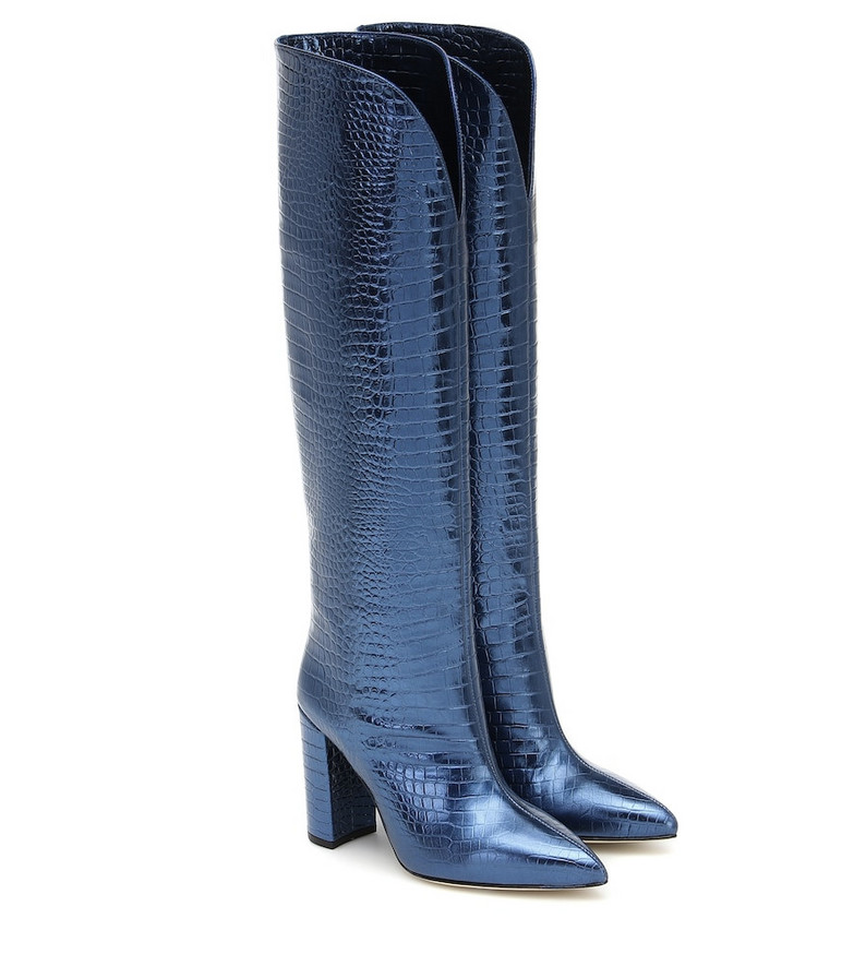 Paris Texas Croc-effect leather knee-high boots in blue