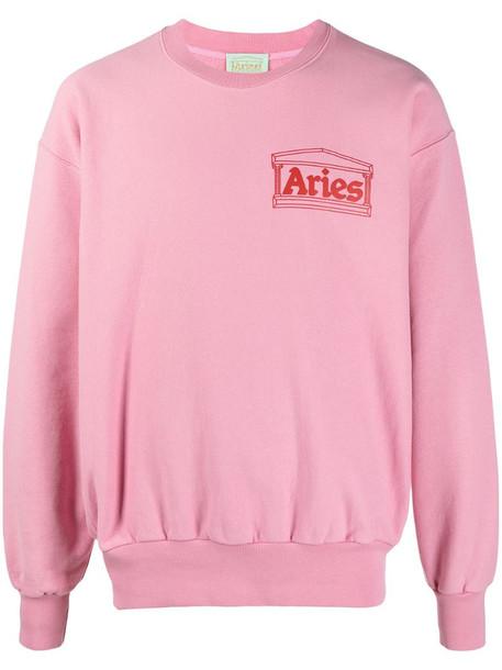 Aries Temple logo-print cotton sweatshirt in pink