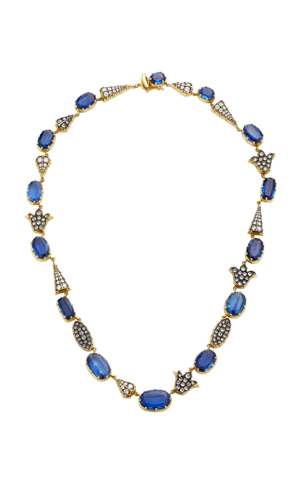 Sylva & Cie 18K Gold Sterling Silver Diamond and Kyanite Necklace in blue