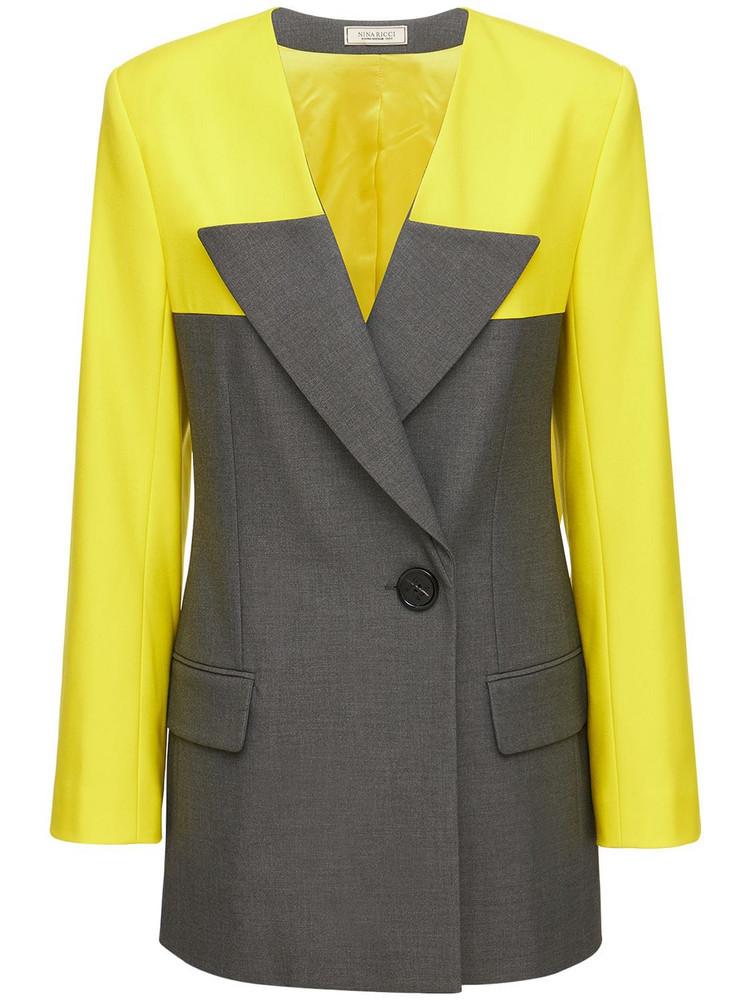 NINA RICCI Two Tone Gabardine Jacket in grey / yellow