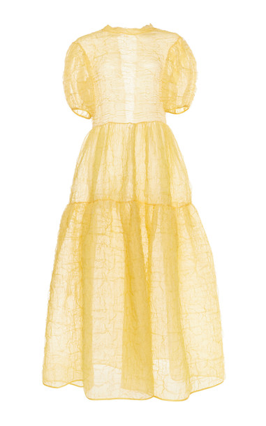 Cecilie Bahnsen Kelly Puff Sleeve Bow-Accented Gown Size: 6 in yellow