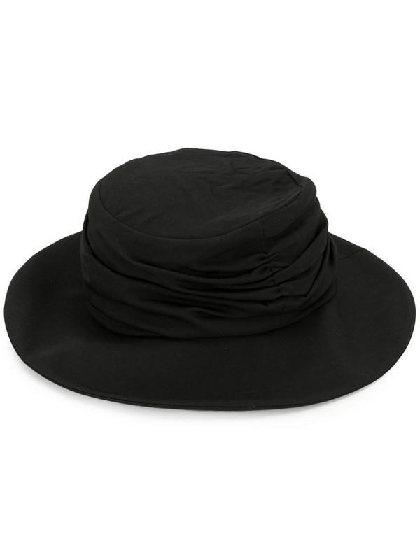Y's draped details hat in black