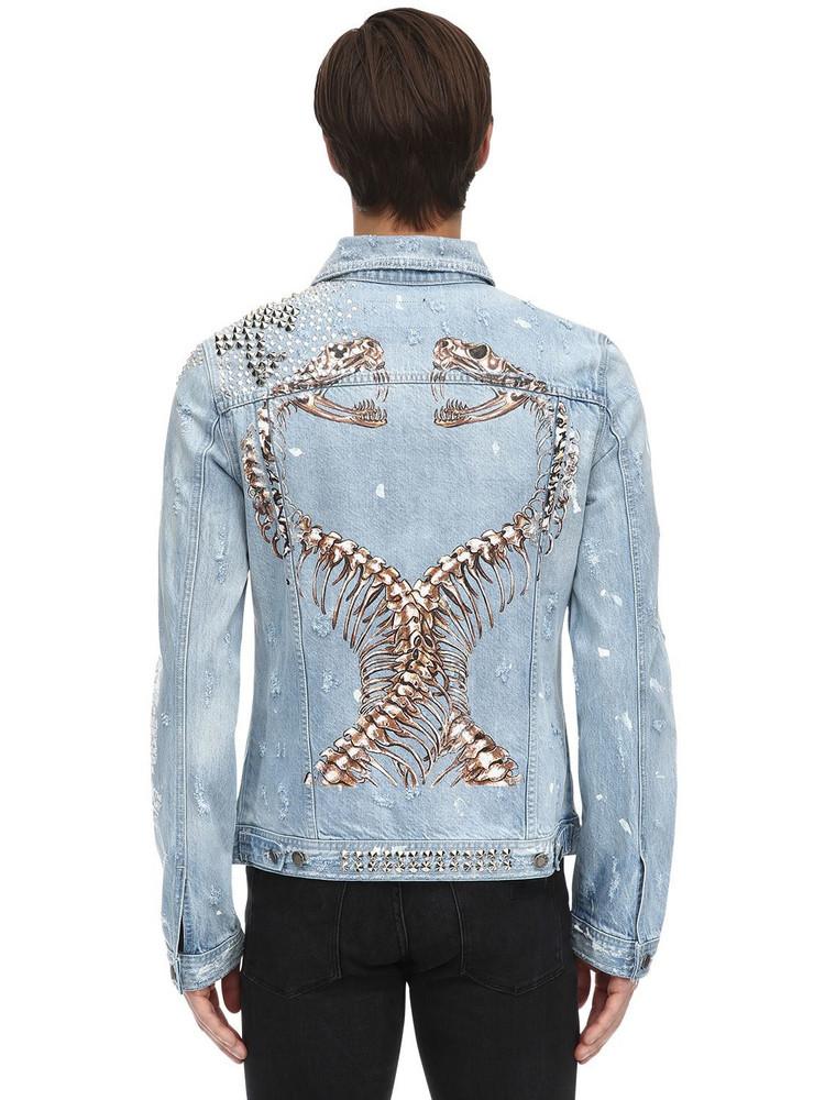 DOMREBEL Snakes Embellished Cotton Denim Jacket in blue