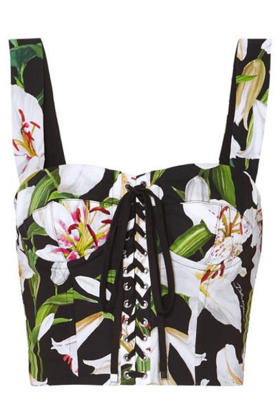 Dolce & Gabbana - Cropped Floral-print Cotton-blend Poplin And Mesh Bustier Top - Black