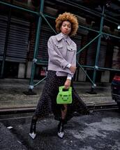skirt,asymmetrical skirt,polka dots,topshop,midi skirt,ankle boots,green bag,handbag,tights,jacket,white turtleneck top