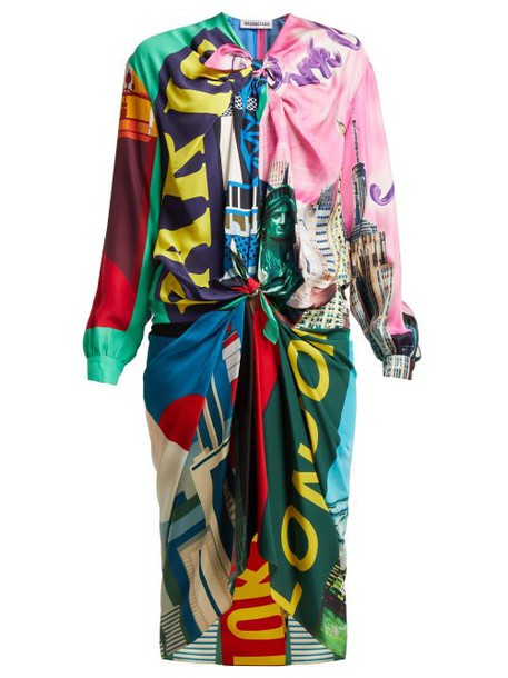 Balenciaga - Knotted Scarf Midi Dress - Womens - Multi