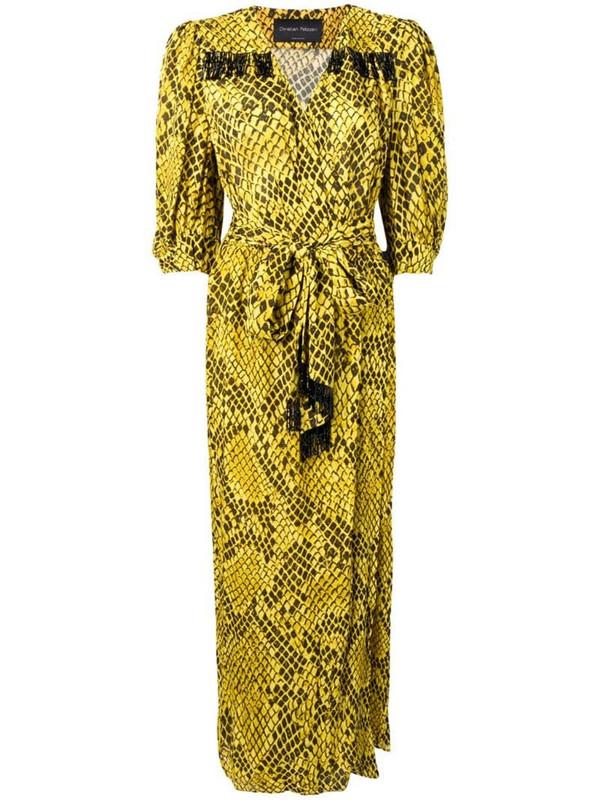 Christian Pellizzari snake pattern wrap dress in yellow