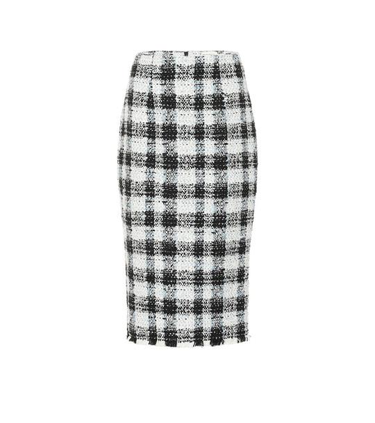 Alexander McQueen Checked tweed pencil skirt in blue