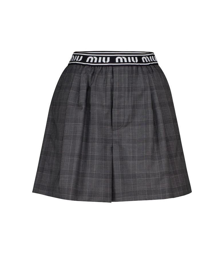 Miu Miu Checked virgin wool shorts in grey