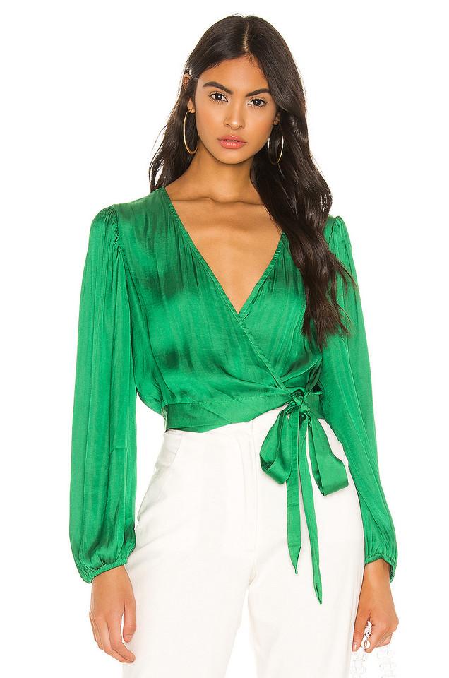 Bardot Elena Tie Blouse in green