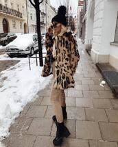 jacket,faux fur jacket,leopard print,black boots,skinny pants,sweater,beanie,belt bag