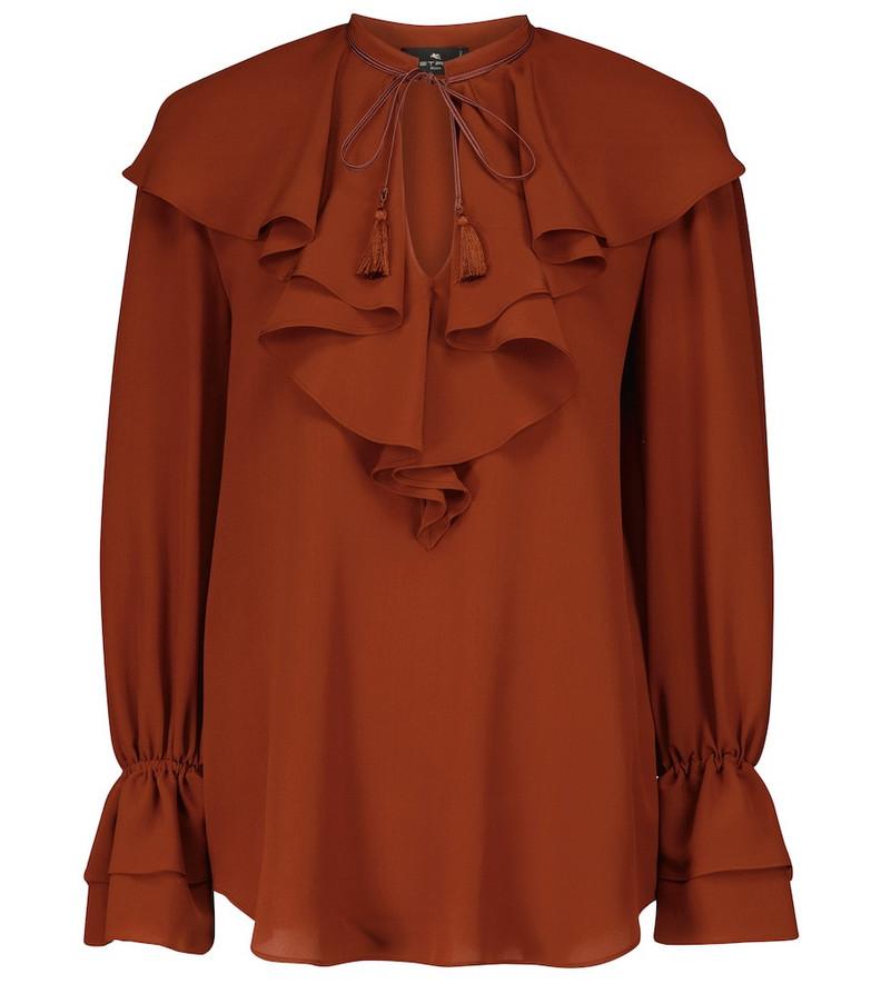 ETRO Ruffled silk crêpe blouse in red