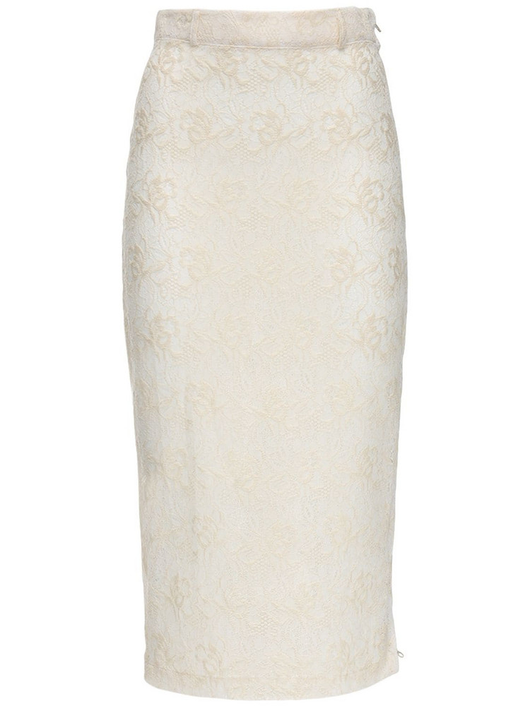 MARYAM NASSIR ZADEH Philo Lace Midi Skirt in ivory