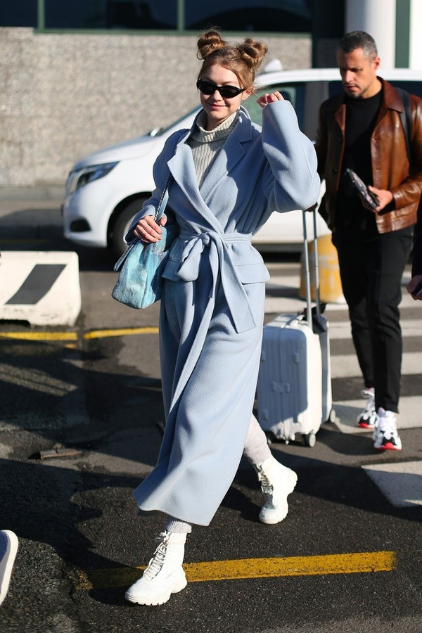 coat gigi hadid gigi hadid style model off-duty model