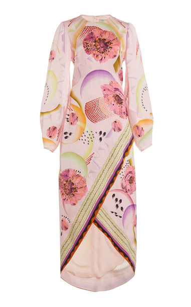 Temperley London Astaire Draped Printed Satin Midi Dress in multi