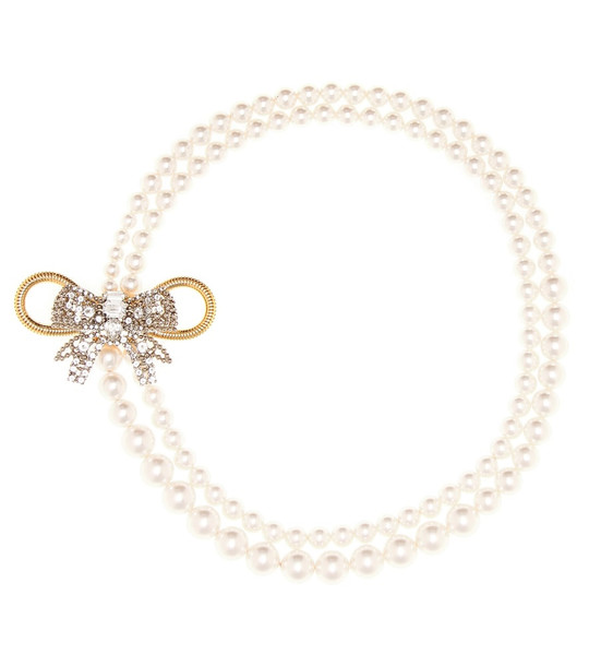 Miu Miu Faux pearl and crystal necklace in white