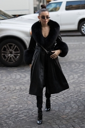 coat,leather,all black everything,madison beer,fur,streetstyle,fashion week,celebrity