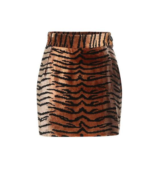 The Attico Tiger-print velvet miniskirt in brown
