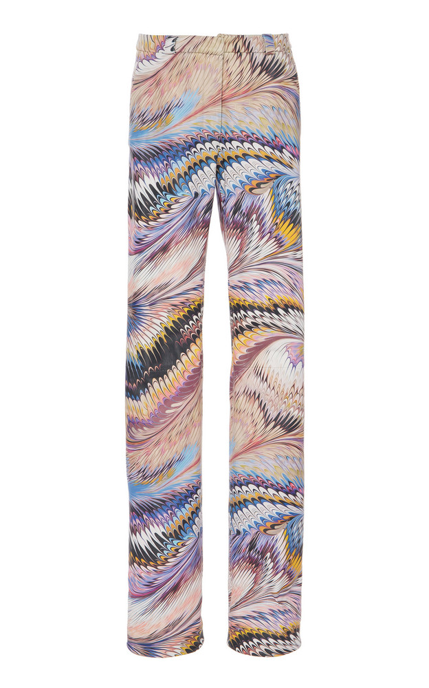 Mary Katrantzou Marbled Mid-Rise Leather Pants in purple